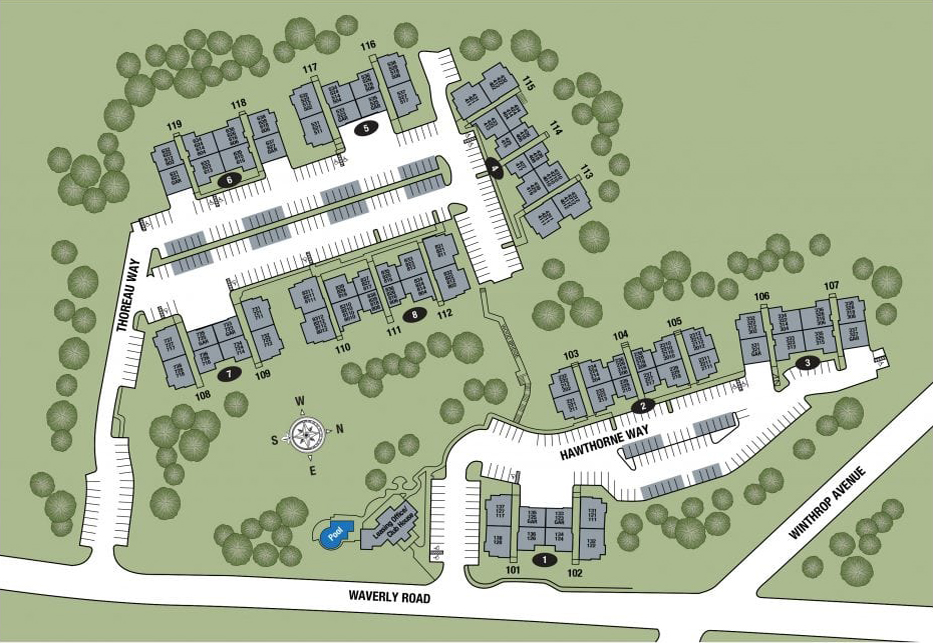 """""""This community map shows the layout of apartments for TGM Andover Park Apartments in South Lawrence, MA. """""""