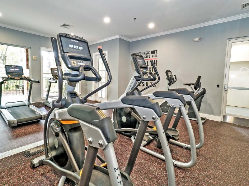 This image shows a 24-hour state of the art athletic club with metrics equipment.
