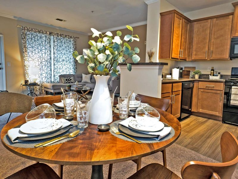 TGM Andover Park Apartments Kitchen Island and dining table view