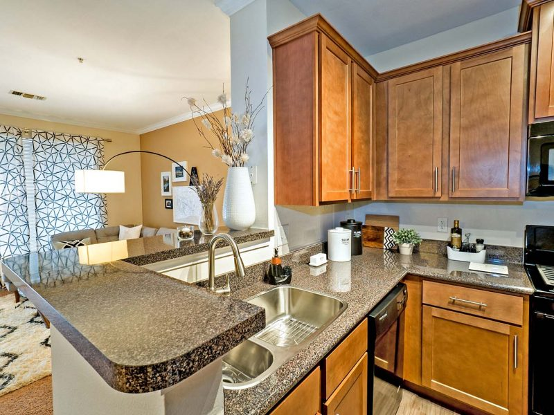 This image shows the premium apartment features, specifically the kitchen area with a high-quality kitchen bar and a gradient inspired countertops.